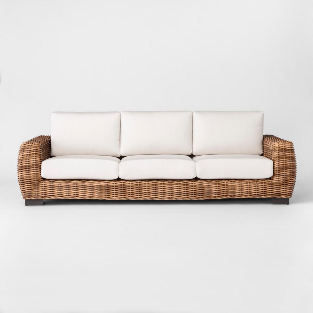 Eldridge Wicker Patio Sofa with Sunbrella Cushions - Brown/White - Smith & Hawken
