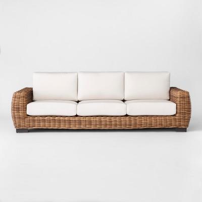 Eldridge Wicker Patio Sofa With Sunbrella Cushions   Brown/White   Smith U0026  Hawken™