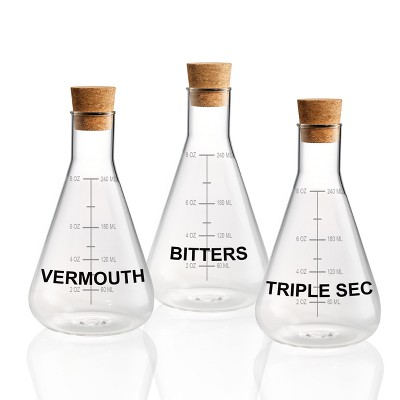 Home Mixology Glass Decanters With Cork Stoppers 10oz - Set of 3