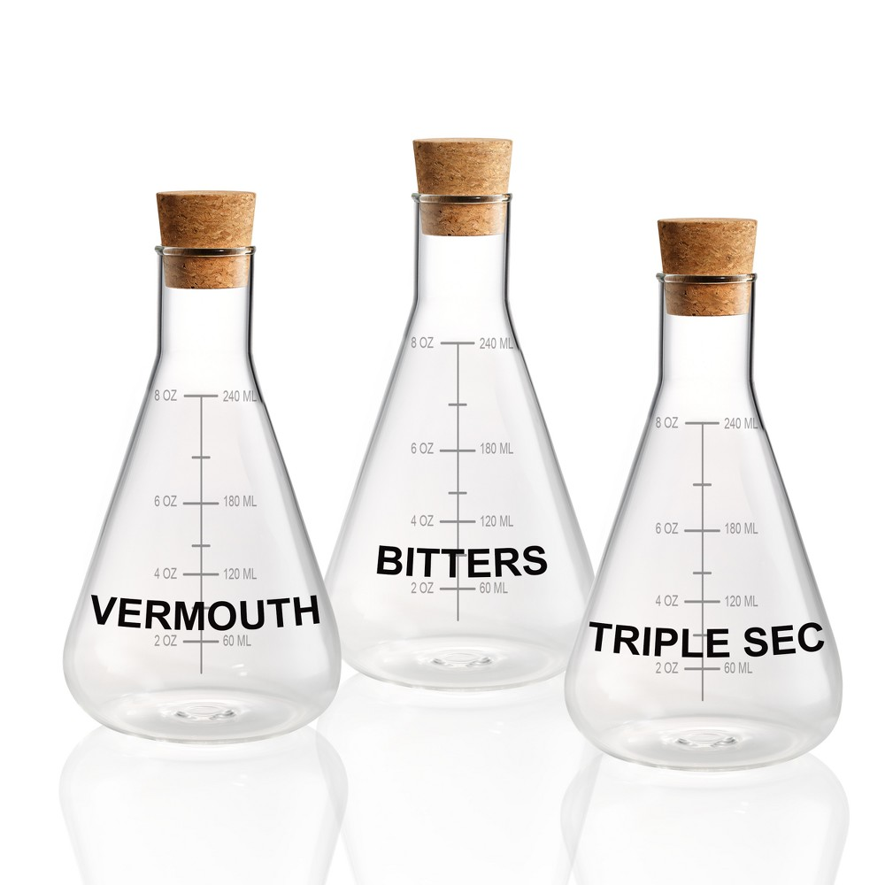 Image of Home Mixology Glass Decanters With Cork Stoppers 10oz - Set of 3, Clear