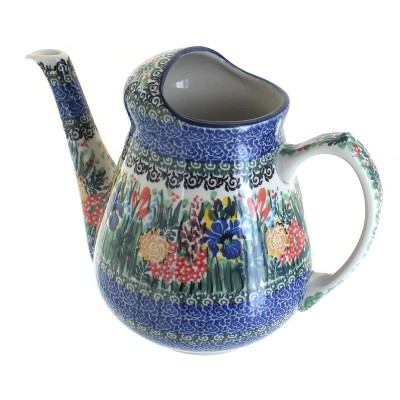 Blue Rose Polish Pottery Summer Blooms Watering Can
