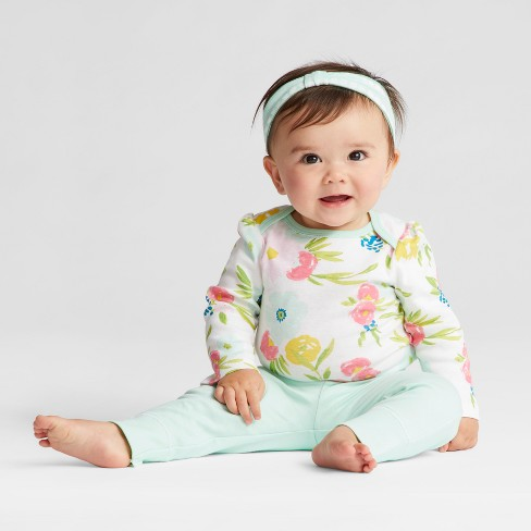 Baby Girls' 4pk Long Sleeve Bodysuit Mint/Blue - Cloud Island™ - image 1 of 3