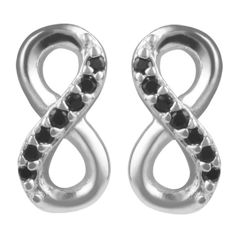 1/10 CT. T.W. Round-cut CZ Pave Set Infinity Stud Earrings in Sterling Silver - image 1 of 2