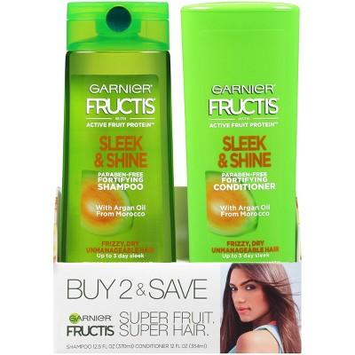 Garnier Fructis Active Fruit Protein Sleek & Shine Shampoo & Conditioner Twin Pack - 24.5 fl oz