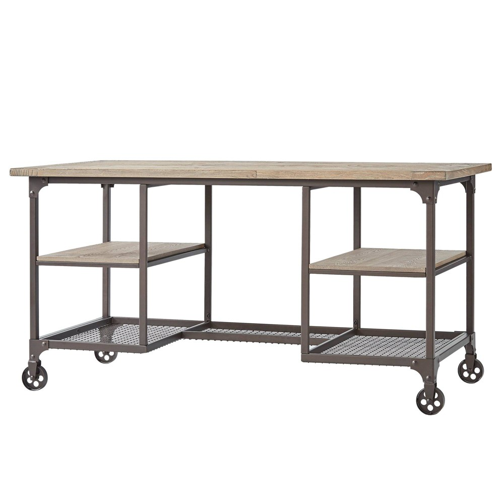 Chimney Hill Rustic Industrial Metal/Wood Writing Desk Brown - Inspire Q