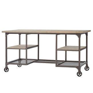 Chimney Hill Rustic Industrial Metal/Wood Writing Desk Brown - Inspire Q