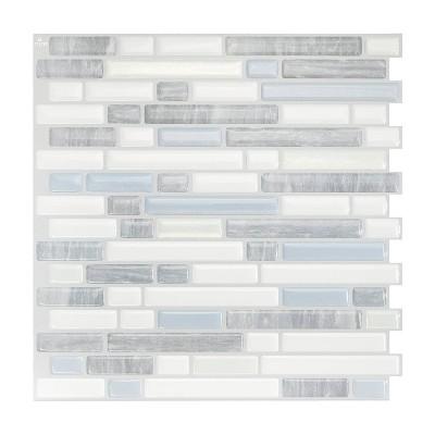 "Smart Tiles 3D Peel and Stick Backsplash 4 Sheets of 10.06"" x 10"" Kitchen and Bathroom Wallpaper Bellagio Costa"