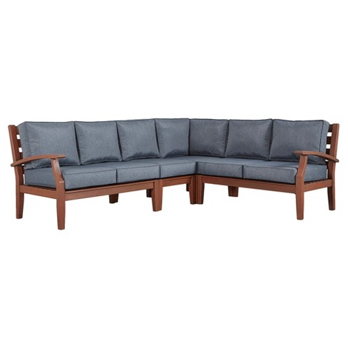 Parkview Wood Patio 6-Seat Sectional with Cushions - Brown/Gray - Inspire Q - image 1 of 1