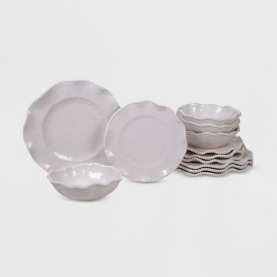 fd92be2656 12pc Melamine Perlette Dinnerware Set Cream - Certified International
