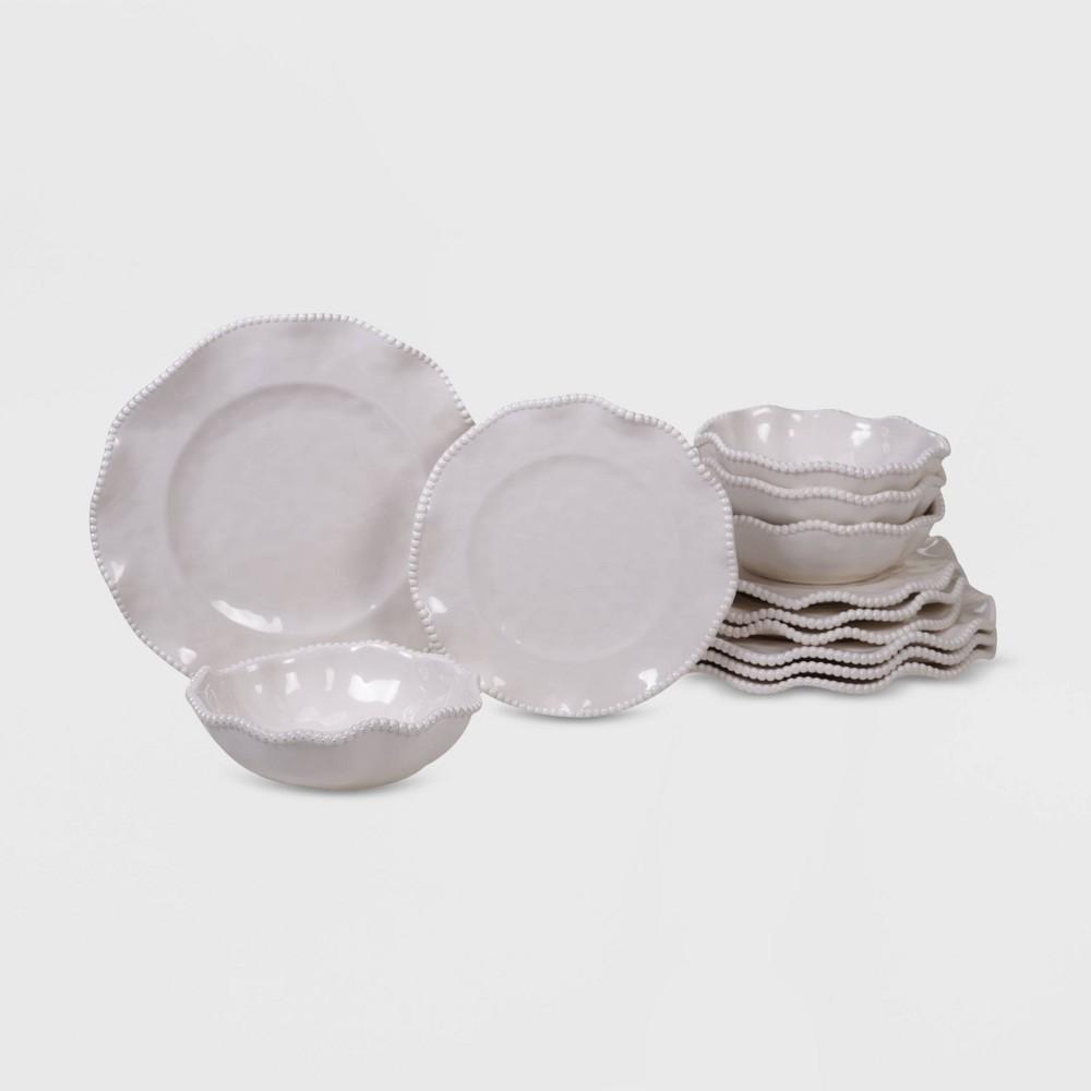 Image of 12pc Melamine Perlette Dinnerware Set Cream - Certified International