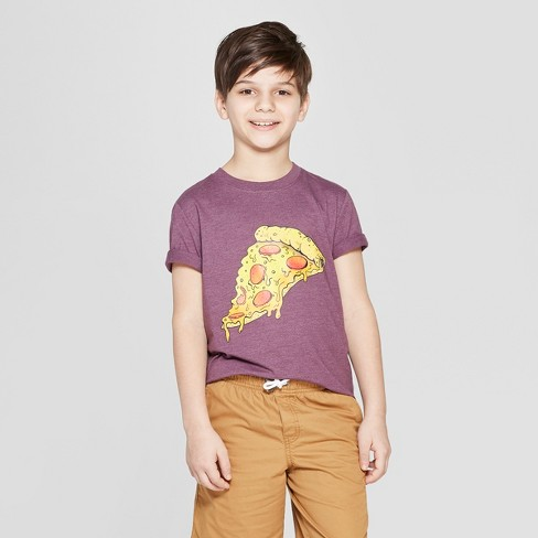 Boys' Pizza Short Sleeve Graphic T-Shirt - Cat & Jack™ Purple - image 1 of 3