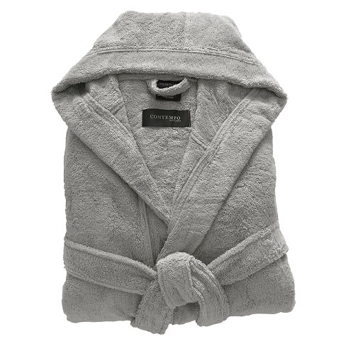 Kassatex Contempo Turkish Cotton Bath Robe - Steel - image 1 of 2