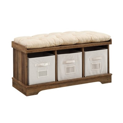 """42"""" Wood Storage Bench With Totes And Cushion - Saracina Home"""