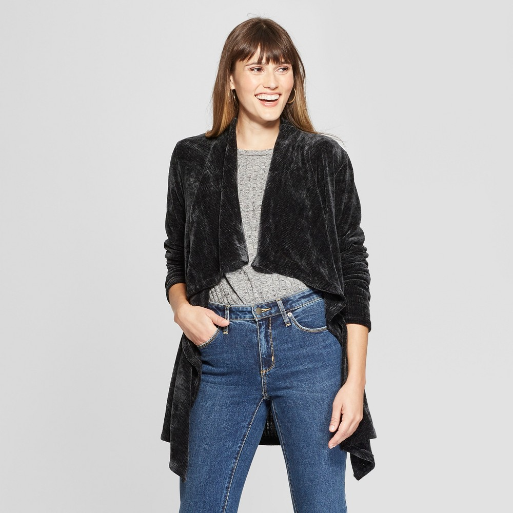 Women's Long Sleeve Chenille Open Layering Jacket - Knox Rose Black Xxl