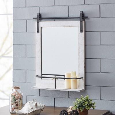 Ivy Wood Farmhouse Barn Door Mirror with Shelf - FirsTime