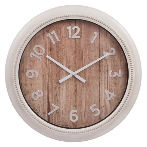 "22"" Rustic Wall in Distressed White Wall Clock White - Patton Wall Decor - image 1 of 5"