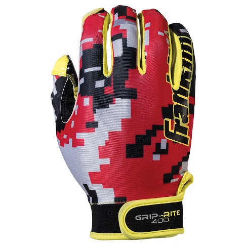 Franklin Sports Adult Grip-Rite® 400 Football Receiver Gloves Small / Medium - Red/Yellow - image 1 of 3