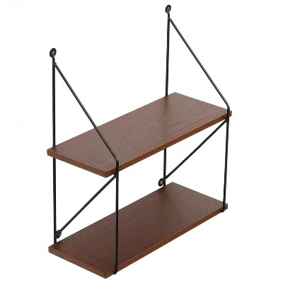 """Americanflat Floating Shelf 2 Tiered Made Of Composite Wood with Metal Wire Floating Bracket - Wall Mounted - 15"""" x 16.25"""" x 6"""""""