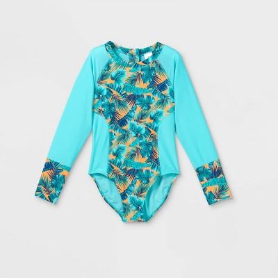Girls' Palm Print Long Sleeve One Piece Swimsuit - art class™ Mint