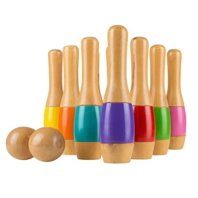 Hey! Play! Tall 9.5  Wooden Lawn Bowling Game