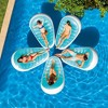 Intex Petal 76 x 49 Inch Inflatable Floating Lounge Chair Pool Float Lounger with Cupholder and Connector Tethers, Blue & White - image 4 of 4