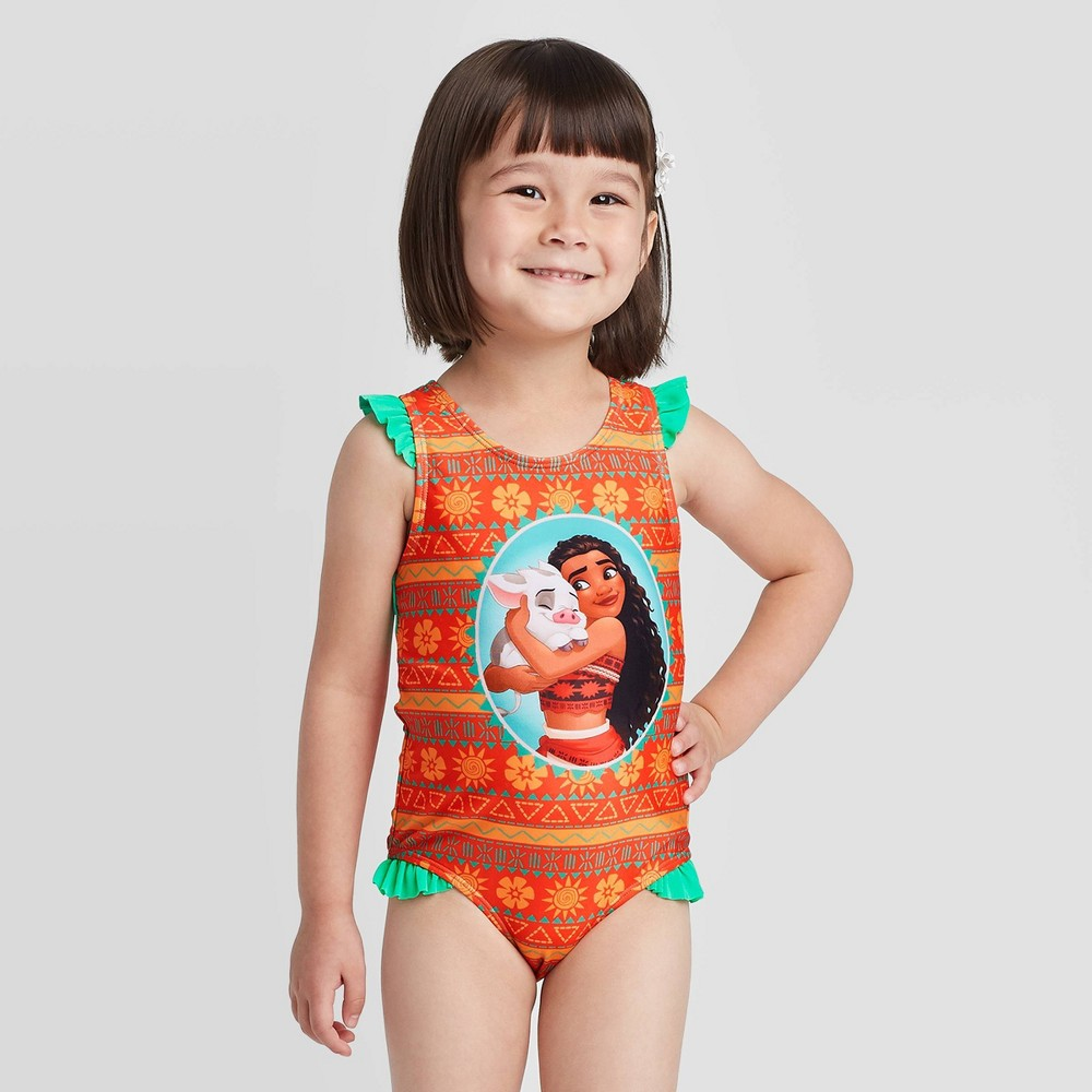 Image of Toddler Girls' Moana One piece swimsuit - Coral 2T, Toddler Girl's, MultiColored