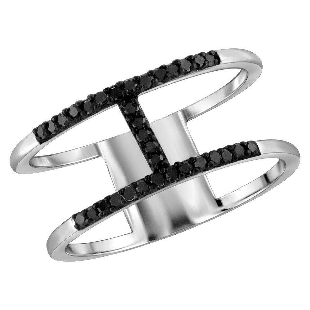 "Image of ""1/10 CT. T.W. Round-Cut Black Diamond Prong Set H Ring in Sterling Silver - White (7)"""", Women's"""