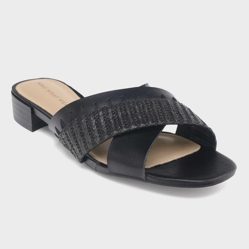 Women's Stella Heeled Cross Band Slide Sandals - Who What Wear Black 7.5
