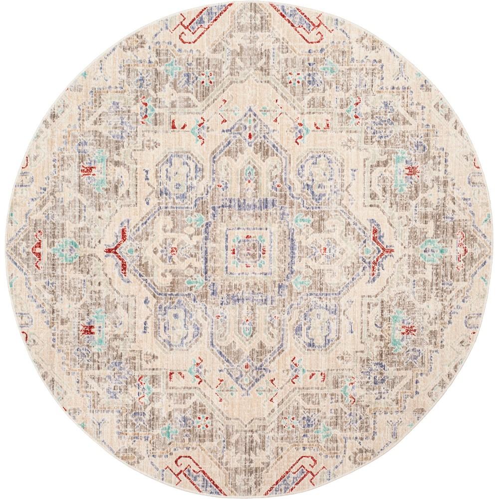 6' Medallion Loomed Round Area Rug Light Gray/Ivory - Safavieh