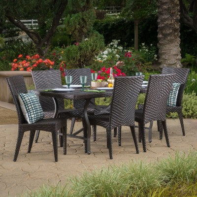 Dudley 7pc Wicker Dining Set - Multibrown - Christopher Knight Home