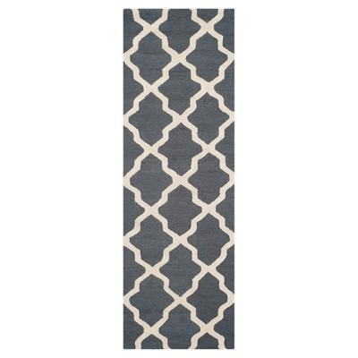 2'6 X8' Geometric Runner Dark Gray/Ivory - Safavieh