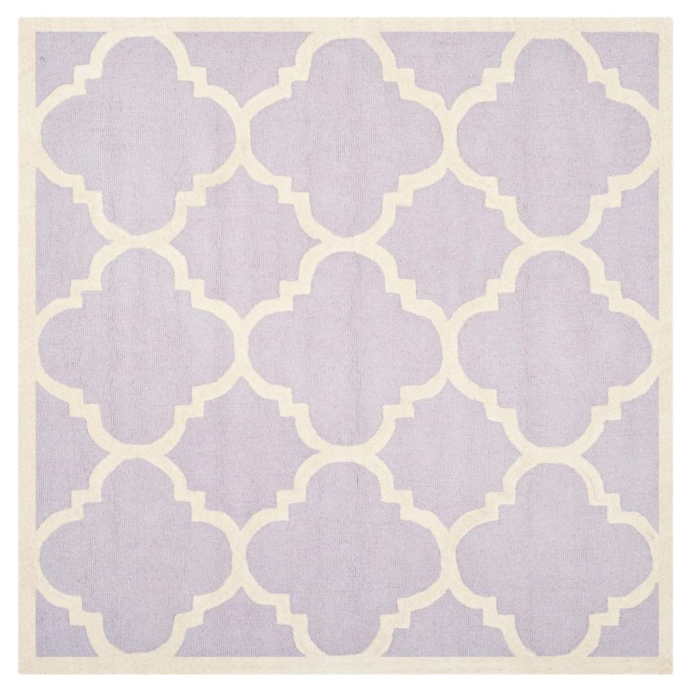 Landon Texture Wool Rug - Lavender / Ivory (8' X 8') - Safavieh, Purple/Ivory