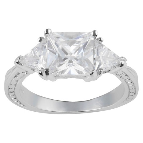 3 3/4 CT. T.W. Square-cut CZ Basket Set Three-stone Engagement Ring in Sterling Silver - image 1 of 2