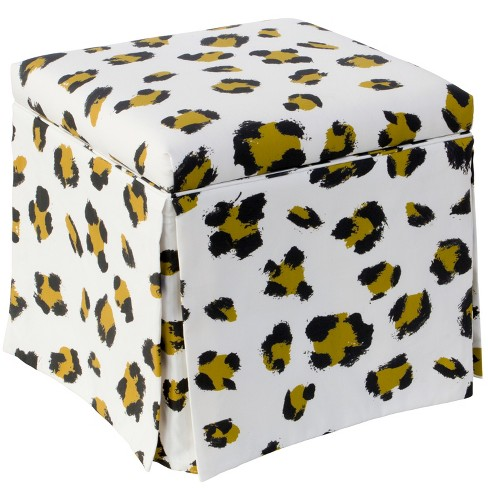Amazing Carla Skirted Storage Ottoman Leopard Spot Cloth Co Ncnpc Chair Design For Home Ncnpcorg