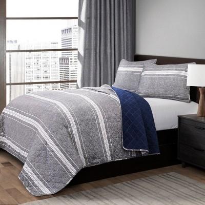 Gray Marlton Stripe Quilt Set (Full/Queen)- Lush Decor