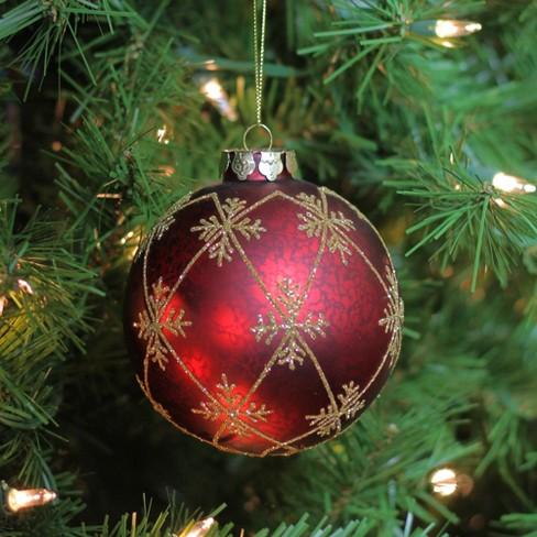 "NORTHLIGHT Glitter Snowflakes Mercury Glass Ball Christmas Ornament 3.25"" - Burgundy Red/Gold : Target"