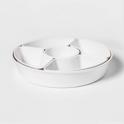 6pc Melamine 5-Section Serving Platter White - Threshold™