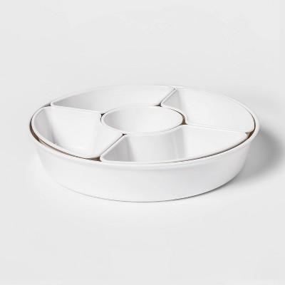 6pc Melamine 5-Section Serving Platter White - Threshold™