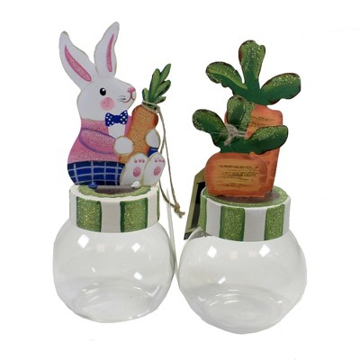 """Easter 9.0"""" Bunny & Carrot Bubble Jars St/2 Easter  -  Decorative Jars"""