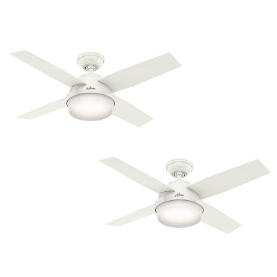 "Hunter Fan Company Dempsey 44"" 3 Speed Quiet Indoor Ceiling Fan with Integrated Energy Efficient LED Light and Handheld Remote Control, White (2 Pack)"