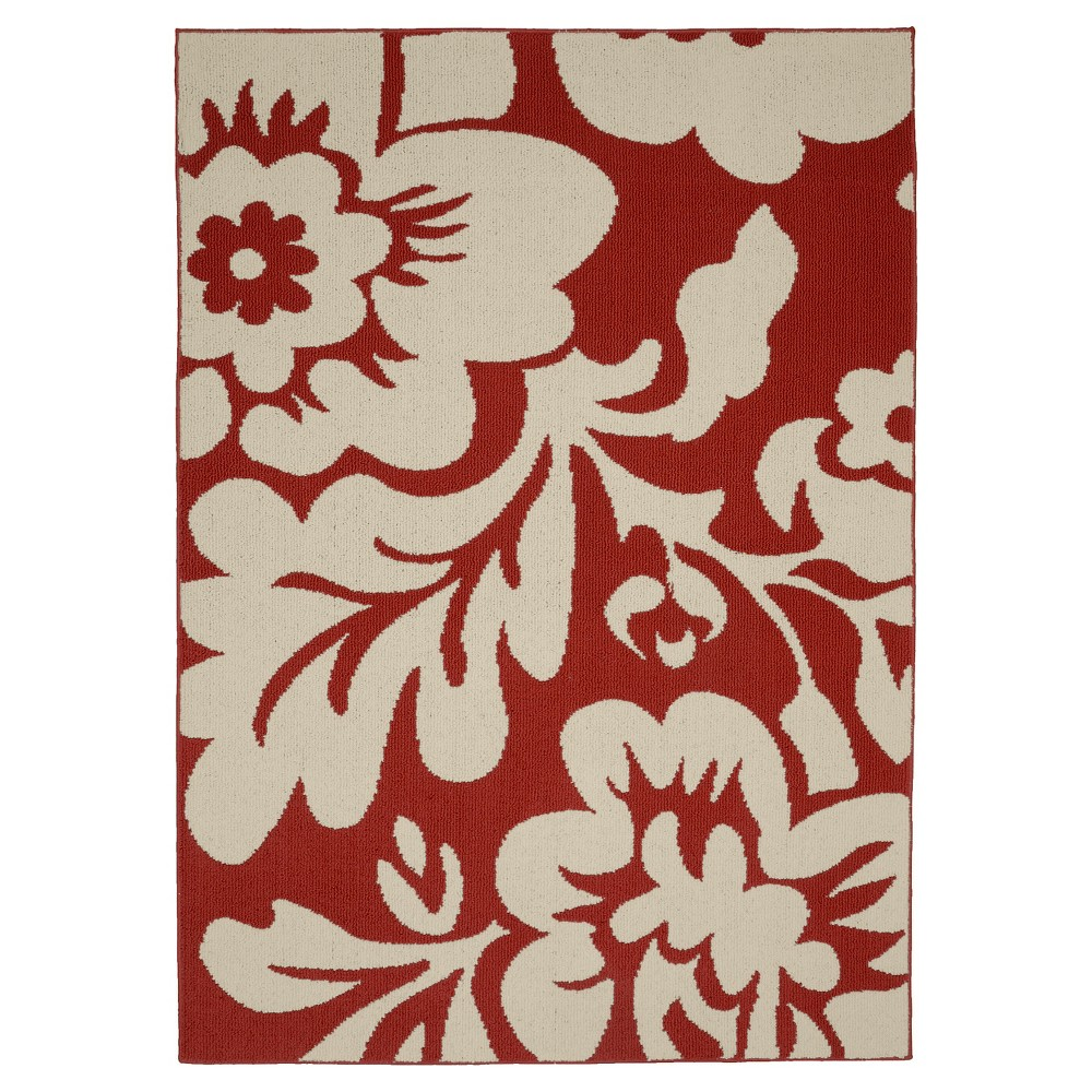 Garland Floral Garden Area Rug - Coral/Ivory (Pink/Ivory) (5'X7')