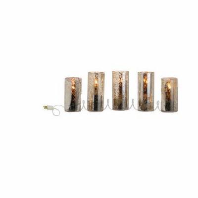 Raz Imports Set of 5 Gold Mercury Glass Style Flameless Christmas Candle Lights