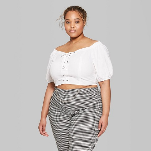 9a834a0b2801a Women s Plus Size Short Sleeve Off the Shoulder Lace-Up Cropped Top - Wild  Fable™