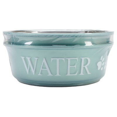 Buddy's Line Food & Water Double Pet Bowl Set - Teal (2qt)