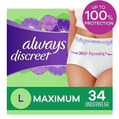 Always Discreet Incontinence & Postpartum Incontinence Underwear for Women - Maximum Protection