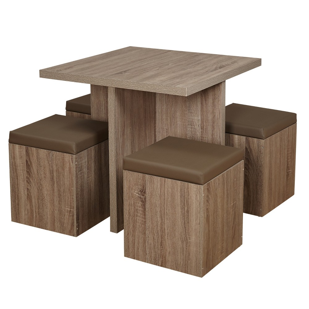 5pc Howard Dining Set with Storage Ottoman - Natural/Taupe - Buylateral