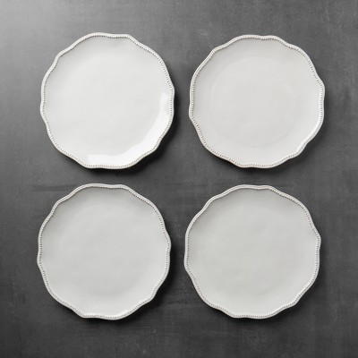 4pk Scallop Beaded Dinner Plate Cream - Hearth & Hand™ with Magnolia