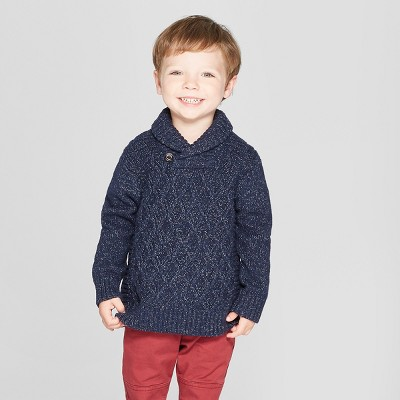 Toddler Boys' Shawl Collar Long Sleeve Pullover Sweater - Cat & Jack™ Navy 2T
