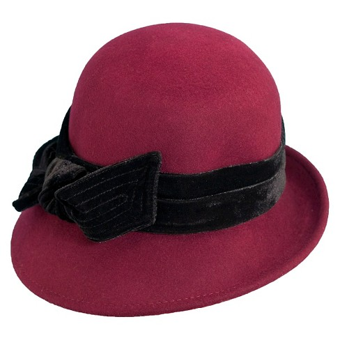 3898ea4346f Scala™ Collezione Women s Wool Cloche Hat - Burgundy Black   Target
