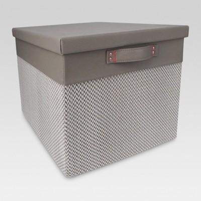 Lidded Large Milk Crate - Gray Chevron - Threshold™